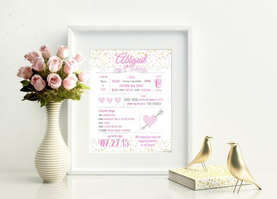 Personalized First/1st Birthday Print, Girl, Pink and Gold Confetti Birthday Print, Digital File