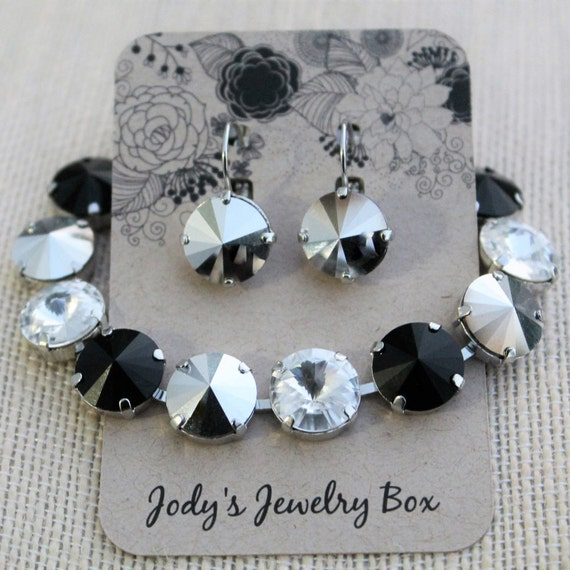 12mm Swarovski Bracelet and Earring Set - Jet, Crystal and Silver, empty cup chain bracelet