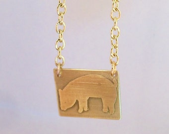 Little Pig etched brass necklace