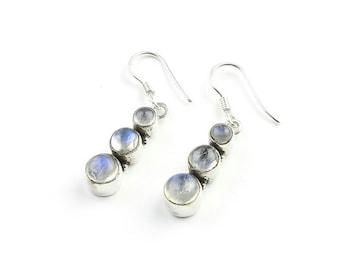 Moon Phase Earrings, Sterling Silver Moonstone Earrings, Moon Earrings, Indian Earrings, Ethnic Earrings