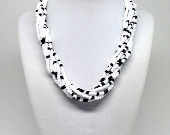 Vintage Estate Dalmatian Multi Strand Seed Bead Black White Swirl Rope Beaded Crystal Necklace