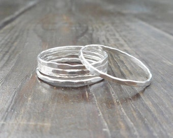 Five (5) Silver Stacking Rings || Thin Hammered Rings || Sterling Silver .925 || Custom Size