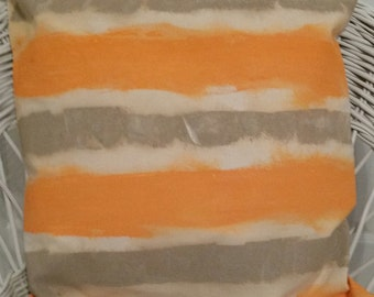 "SUMMER AWNING! original artwork pillow; acrylic on 100% cotton canvas; orange, beige and canvas stripe;  20""x18"""