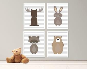 "Printable Woodland Animals Nursery Art Print Set, Baby Nursery, White & Gray Nursery Decor, Set of 4-8x10"" Digital Instant Download -S253"
