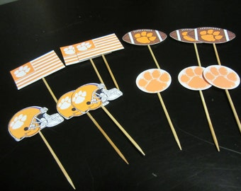 cupcake toppers, party supplies, Clemson Tigers, football, sports theme