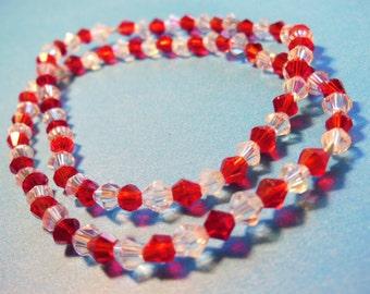 2 red Swarovski 4mm crystal elastic bracelet
