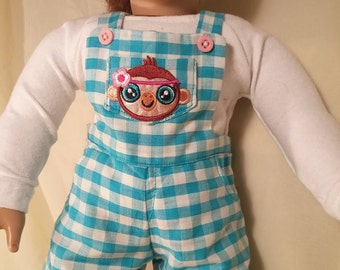 Short Overall 3 Piece Outfit with Monkey Applique