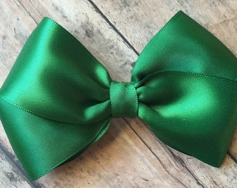 Forest Green Satin Bow on Metal Clip, Elastic Headband, or Hair Tie, Buy 3 Get 1 Free! Baby Hair Bow, Dark Green Hair Bow, Green Hair Clip