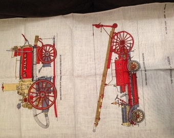 "Vintage Pure Linen ""Fire-Engines"" Tea Towel by Ulster"