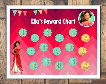 Elena of Avalor Reward Chart Download - Digital PDF Files -- or Minnie, Mickey Mouse, Frozen, Paw Patrol, Princesses, Potty Charts and more!