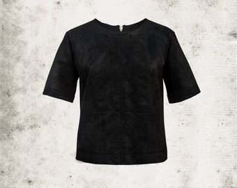 Black Box Shape Top with Back Zip and Stitched Detail Panels