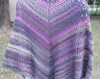 Shawl-lilac,pink,green, multi color lightweight shawl-summer shawl-friendship shawl-prayer shawl