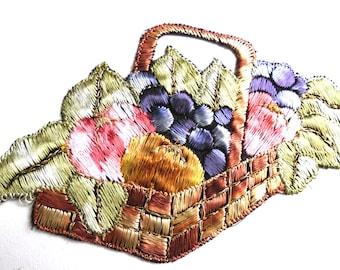 Applique, Fruit, fruit basket applique, 1930s vintage embroidered applique. Vintage patch, sewing supply.  #641G86K16