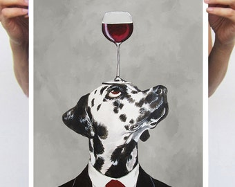 Dalmatian print from original painting by Coco de Paris: Dalmatianwith wineglass