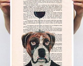 Boxer Poster, Boxer Artwork, Alice in Wonderland, print from original painting by Coco de Paris: Boxer with wineglass