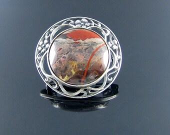Vintage Silver Brooch/Floral Brooch/Silver Brooch/Jasper Brooch/Filigree Brooches/Pin Brooch/Silver pin Brooch/Vintage gift/Vintage Jewelry