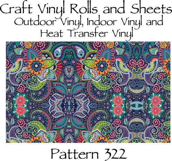 Beautiful, Vibrant Patterned Craft Vinyl and Heat Transfer Vinyl in Paisley Pattern 322