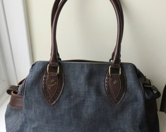Stunning Fendi Leather and Denim Vintage Bag