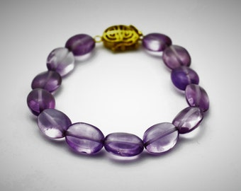Antique Amethyst Beaded Bracelet - Beaded Bracelet - Gemstone Bracelet