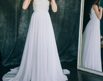 "Wedding skirt ""Muse"" | Silk chiffon bridal skirt with long train separates white ivory maxi full floor lenght boho beach wedding"