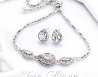 Wedding Earrings Bridesmaid Bracelet Zirconia Earrings Bridesmaid Bracelet Wedding Jewelry Bridal Jewelry Bridal Bracelet Bridesmaid Gift