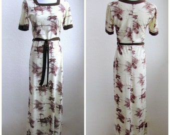 Medium 1970s Fishing Boat Print Brown and Cream Maxi Dress