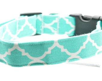 Teal Blue Green Quatrefoil Pet Dog Collar Adjustable