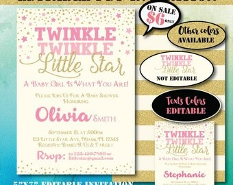 Self-Editing Twinkle Twinkle Little Star Baby Shower Invitation-Baby Shower Invite-Printable Invitation-Super Little Star Party-B401-P
