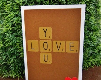 "Handmade Scrabble ""Love You"" Card (Original)"