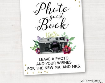 Photo Guest Book Sign, Polaroid Guest Book Sign, Watercolor Camera, Watercolor Flowers, Gold Confetti, Party Printables, Instant Download