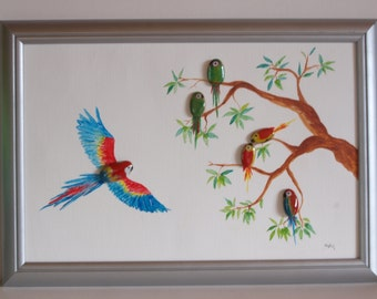 3D image on stones with oil paint painted: couples meeting the parrots in the old tree