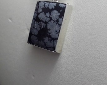 Hand Made Sterling Silver and Snow Flake Obsidian Designer Pendant (40sil)