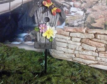 Fairy Garden Miniature  Bird House (Resin) on a metal stake,  for your Fairy Garden, Miniature Bird House, Fairy Garden Accessories