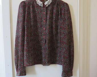 Vintage Red Paisley Blouse with Lace collar