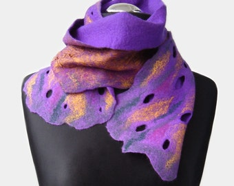 Purple Rusty Wet Felted Scarf Nuno Felted Scarf Woolfelt Scarf