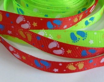 5 yd Printed Little Feet Grosgrain Ribbon #ER11-12