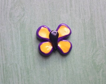 Yellow and Purple Polymer Clay Butterfly