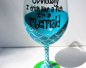 Hand Painted Wine Glasses, Mermaid Wine Glass, Painted Wine Glass, Mermaid decor, Gift Ideas for Women, Birthday Gift, Custom Wine Glass