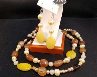 Jade Dangle Earrings, Yellow Jade & Pearl Earrings, 925 Sterling Silver Yellow Jade and Pearl Dangles, June Birthstone Earrings, #E1019
