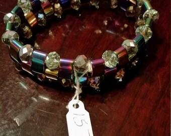 Iridescent Triple Strand Bracelet