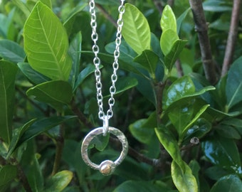 Hammered silver and gold loop necklace