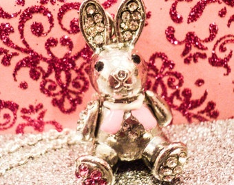 Silver Bunny Rabbit Easter Charm Necklace
