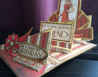 Art Deco To A Special Friend Birthday Card - Handmade