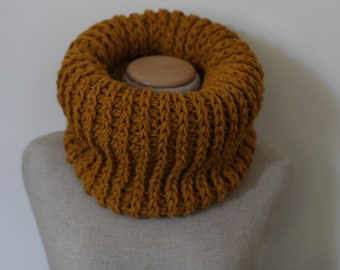Mustard cowl, mustard infinity scarf, chunky oversized scarf, yellow tube scarf, circle scarf, loop scarf, rib knitted scarf, crocheted