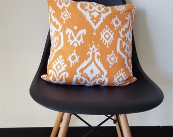 Modern Ikat & recycled leather pillow