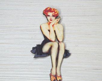 Pinup Girl Brooch, Pin-up, Pin up Laser-cut Wood