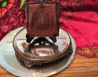 Antique leather purse, vintage leather purse, purse, Art Nouveau purse, 1900's leather purse, antique leather handbag, Art Nouveau handbag