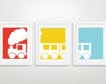 Printable - Three Poster Train Nursery Wall Decor