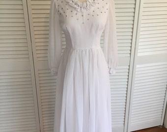 1970s white chiffon rhinestone dress