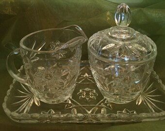 Anchor Hocking Sugar Bowl , Creamer & Tray